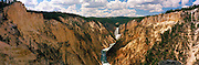 A panoramic view of the Lower Falls of the Grand Canyon of the Yellowstone River, Yellowstone National Park, Wyoming, USA; August 2011