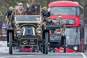 A DeDion Bouton Going over Westminster Bridge - Bonhams London to Brighton Veteran Car Run celebrates the 122nd anniversary of the original Emancipation Run of 1896 which celebrated the passing into law the Locomotives on the Highway Act so raising the speed limit for 'light automobiles' from 4mph to 14mph and abolishing the need for a man to walk in front of all vehicles waving a red flag. The Movember Foundation as our Official Charity Partner.