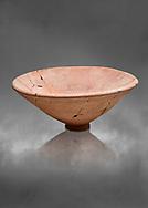 Hittite pottery bowl from the Hittite capital Hattusa, Hittite New Kingdom 1650-1450 BC, Bogazkale archaeological Museum, Turkey. Grey  background