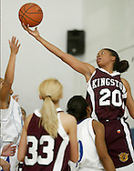 Kingston's Keyana Williams (20) reaches to grab the ball during a game against Middletown in Middletown on Feb. 15, 2008.