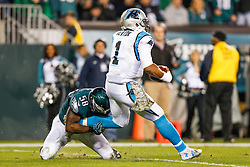 Philadelphia Eagles outside linebacker Trent Cole #58 sacks the Panthers Quarterback during the NFL game between the Carolina Panthers and the Philadelphia Eagles at Lincoln Financial Field in Philadelphia, Pennsylvania on Monday November 10th 2014. The Eagles won 45-21. (Brian Garfinkel/Philadelphia Eagles)