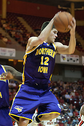14 October 2006:  Ben Jacobson pulls in a rebound.....In a game that involved both coaches as much as the players, the Northern Iowa Panthers plucked the Illinois State University Redbirds in a Missouri Valley Conference game by a score of 67 - 52. Competition took place at Redbird Arena in Normal Illinois