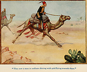 They saw a man in uniform shining with gold flying towards them illustrating the Story ' Gordon ' From the book '  The red book of heroes ' by Mrs. Lang, Edited by Andrew Lang, illustrated by A. Wallis Mills, Published by Longmans, Green, and Co. New York, London, Bombay and Calcutta in 1909