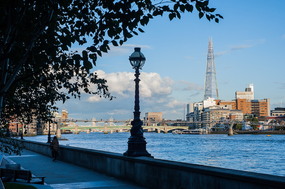 River Thames with the Millennium Bridge and The Shard in London
