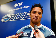 New Auckland Blues No10 Steve Brett. Super 14 rugby union. 2010 Rebel Sport Super 14 New Zealand squads naming press conference. Auckland, New Zealand. Wednesday 11 November 2009. © Copyright Photo: www.photosport.nz