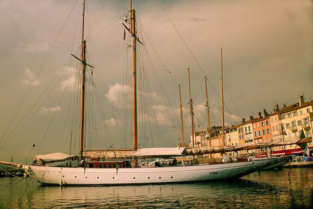 Sailboat tied up St. Tropez harbour, France