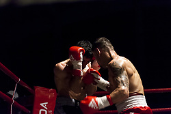 November 11, 2017 - Osorno, Chile - Osorno, Chile. 10 November 2017. The Chilean champion of the category Super Gallo Robinson ''Ray'' Laviñanza defeated Ramón ''Toro'' Contreras by KO and retained his national title after nine emotional rounds, where both touched the canvas at some point in Osorno, Chile. (Credit Image: © Fernando Lavoz/NurPhoto via ZUMA Press)