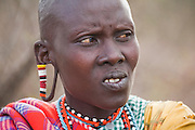 Noolkisaruni Tarakuai, the third of four wives of a Maasai chief, at her home in a Maasai compound village near Narouk, Kenya. Noolkisaruni Tarakuai is featured in the book What I Eat: Around the World in 80 Diets.) MODEL RELEASED.