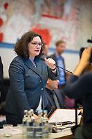 DEU, Deutschland, Germany, Berlin, 12.02.2019: Die Vorsitzende der SPD-Bundestagsfraktion, Andrea Nahles, bei der Fraktionssitzung der SPD im Deutschen Bundestag.