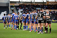 Both teams shake hands at the end of  the Betfred Super League match between Hull FC and St Helens RFC at Kingston Communications Stadium, Hull, United Kingdom on 16 February 2020.
