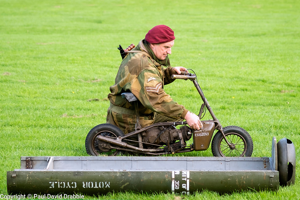 Rufford Abbey 1940's Weekend<br /> Reenactor portraying the 1st British Airborne Division (1st Allied Airborne Corps) simulate a training exercise recovering supplied from a drop zone with a Welbike. A British single-seat motorcycle produced during World War II to dropped in Parachute supply canisters.<br /> <br />   30 September 2017 <br />   Copyright Paul David Drabble<br />   www.pauldaviddrabble.co.uk