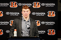Cincinnati Bengals quarterback Andy Dalton answers a question after an NFL football game Saturday, Dec. 24, 2016, in Houston. The Texans won 12-10. (AP Photo/Sam Craft)