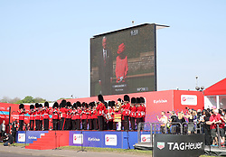 Queen Elizabeth II starts the marathon via video link from Windsor Castle during the 2018 Virgin Money London Marathon.