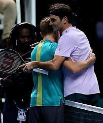November 18, 2017 - Londres, Angleterre - David Goffin (BEL), Roger Federer  (Credit Image: © Panoramic via ZUMA Press)