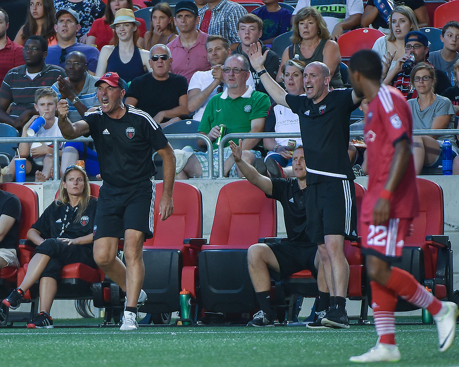 July 27, 2015: Fury head coach Paul Dalglish (R) and goalkeeper coach Bruce Grobbelaar during the NASL match between the Ottawa Fury FC and Carolina Railhawks at TD Place Stadium in Ottawa, ON. Canada on July 27, 2016. The Fury recording a 2-0 win.<br /> <br /> PHOTO: Steve Kingsman/Freestyle Photography