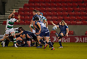 Sale Sharks scrum-half Faf De Klerk clears the ball during a Gallagher Premiership Round 12 Rugby Union match, Friday, Mar 05, 2021, in Eccles, United Kingdom. (Steve Flynn/Image of Sport)