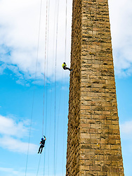 Pictured: Charity Abseil. Forth Rail Bridge, South Queensferry, Scotland, United Kingdom, {ipOver 450 people abseil from the Forth Rail Bridge deck down to the the beach to raise money for a number of Scottish charities, including Scottish SPCA, Chest, Heart & Stroke Scotland, Riding for the Disabled & Brain Tumour Research.<br /> <br /> Sally Anderson   EdinburghElitemedia.co.uk