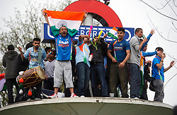 © under license to London News Pictures. 2.4.11.The Indian community in Kingsbury NW London take to the streets to celebrate beating Sri Lanka in the Cricket World Cup Final by six wickets.