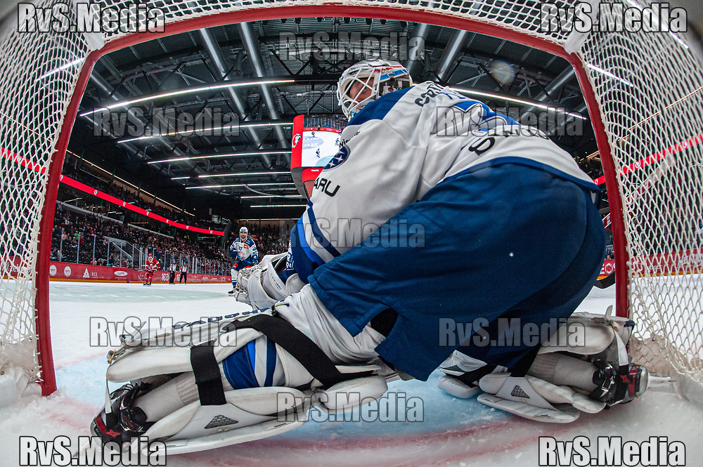 LAUSANNE, SWITZERLAND - OCTOBER 01: Goalie Lukas Flueler #30 of ZSC Lions in action during the Swiss National League game between Lausanne HC and ZSC Lions at Vaudoise Arena on October 1, 2021 in Lausanne, Switzerland. (Photo by Monika Majer/RvS.Media)