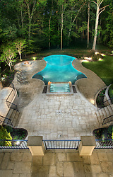 8541_Horseshoe_Pool_above swimming pool Swimming pool House rear exterior Deck patio Verandah Porch Pool pool house