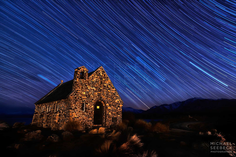 A long exposure photograph, captured early in the morning, revealing star trails over the Church of the Good Shepherd at Lake Tekapo, South Island of New Zealand.<br /> <br /> Limited Edition Print