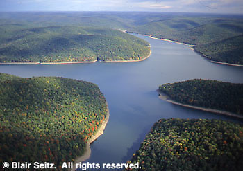 Allegheny Reservoir aerial, Allegheny National Forest, Warren Co., PA.