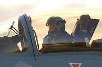 """03 NOV 2003, LAAGE/GERMANY:<br /> Pilot in einem Eurofighter EF 2000 """"Typhoon"""" hier die zweisitzigen Ausbildungsversion, neues Jagdflugzeug der Bundesluftwaffe, kurz vor dem Start, Jagdgeschwader 73 """"Steinhoff"""", Fliegerhorst Laage<br /> IMAGE: 20031103-01-084<br /> KEYWORDS: Bundeswehr, Bundesluftwaffe, Jet, Kampfflugzueg, am Boden"""