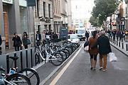 BiciMad Madrid city bicycle rental station at Plaza Jacinto Benavente, Madrid, Spain