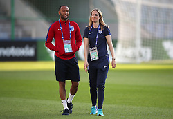 Sport psychologist Rebecca Symes with Nathan Redmond during the team walkaround at the Kolporter Arena in Kielce, Poland. PRESS ASSOCIATION Photo. Picture date: Thursday June 15, 2017. See PA story SOCCER England U21. Photo credit should read: Nick Potts/PA Wire. RESTRICTIONS: Use subject to FA restrictions. Editorial use only. Commercial use only with prior written consent of the FA. No editing except cropping.