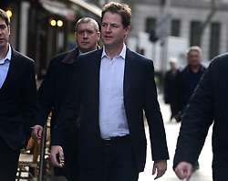 © Licensed to London News Pictures. 18/04/2013. London, UK. Deputy Prime Minister Nick Clegg arrives for his weekly radio show at LBC radio station in Leicester Square, London, 18th April 2013.Photo credit : Peter Kollanyi/LNP