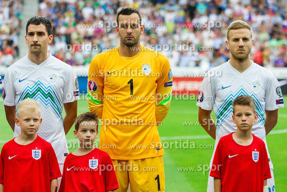 Branko Ilic of Slovenia, Samir Handanovic of Slovenia and Ales Mertelj of Slovenia during the EURO 2016 Qualifier Group E match between Slovenia and England at SRC Stozice on June 14, 2015 in Ljubljana, Slovenia. Photo by Vid Ponikvar / Sportida