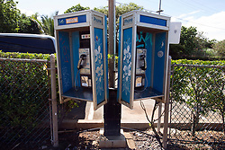 Vintage telephone booths on the main street in Paia, Hi., on Sunday, Jan. 21, 2018. (Photo by D. Ross Cameron)