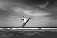 Dancer Charlotte Lanning photographed on Plum Island, MA