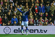 Everton forward Romelu Lukaku  scores for Everton  during the Capital One Cup match between Middlesbrough and Everton at the Riverside Stadium, Middlesbrough, England on 1 December 2015. Photo by Simon Davies.