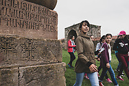 On a Sunday morning, Armenian kids visit Gandzasar Monastery in Nagorno-Karabakh. Dating from the fifth century, this Armenian monastery is one of the most important in Karabakh.<br /><br />(September 25, 2016)