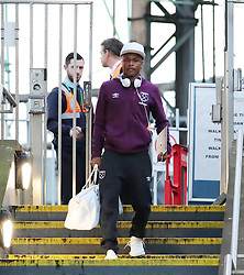 The West Ham team arrive at Piccadilly Train Station in Manchester ahead of their match against Burnley