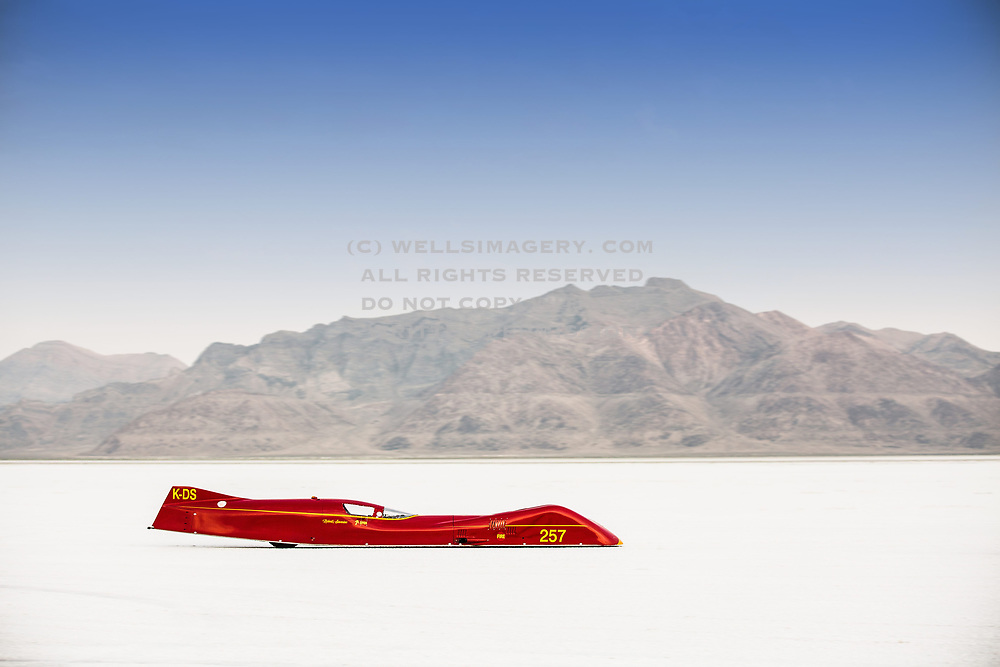 Image of a red streamliner racecar at Speed Week 2018 at the Bonneville Salt Flats, Utah, American Southwest by Randy Wells