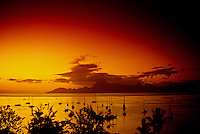 Sunset, Looking from Tahiti to Moorea, French Polynesia