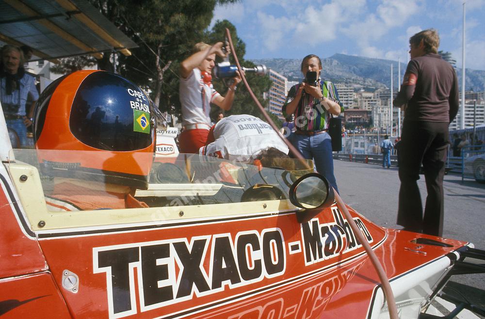 Emerson Fittipaldi in his McLaren-Ford before practice for the 1974 Monaco Grand Prix. Photo: Grand Prix Photo