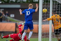 Berwick Rangers Declan O'Kane can't stop Cove Rangers Jamie Masson shot for their goal. half time : Berwick Rangers 0 v 1 Cove Rangers, League Two Play-Off Second Leg played 18/5/2019 at Berwick Rangers Stadium Shielfield Park.