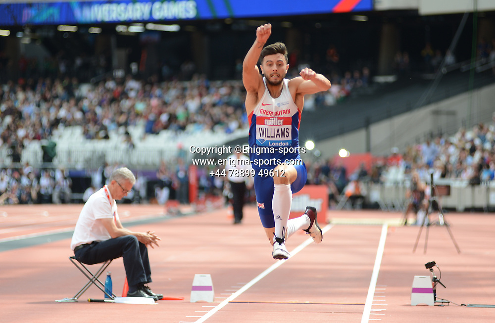 Benjamin Williams competes in the men's triple jump during the IAAF Diamond League at the Queen Elizabeth Olympic Park London, England on 20 July 2019.