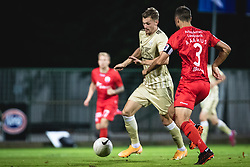 Kevin Žižek of Mura and Niklas Backman of AGF Aarhus during football match between NS Mura and AGF Aarhus in Second Round of UEFA Europa League Qualifications, on September 17, 2020 in Stadium Fazanerija, Murska Sobota, Slovenia. Photo by Blaz Weindorfer / Sportida