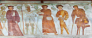 """The Church of San Vigilio in Pinzolo and its fresco paintings """"Dance of Death"""" painted by Simone Baschenis of Averaria in1539, Pinzolo, Trentino, Italy.<br /> <br /> Nobility, Knights and a beggar pierced with an arrow from the skeletons that are either side of him and represent dead. .<br /> <br /> Visit our MEDIEVAL ART PHOTO COLLECTIONS for more   photos  to download or buy as prints https://funkystock.photoshelter.com/gallery-collection/Medieval-Middle-Ages-Art-Artefacts-Antiquities-Pictures-Images-of/C0000YpKXiAHnG2k<br /> If you prefer to buy from our ALAMY PHOTO LIBRARY  Collection visit : https://www.alamy.com/portfolio/paul-williams-funkystock/san-vigilio-pinzolo-dance-of-death.html"""