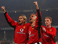 Photo. Javier Garcia<br />25/02/2003 Juventus v Man Utd, Champions League Second Phase, Estadio Delle Alpi<br />David Beckham, Juan Veron and Nicky Butt celebrate Giggs' opener