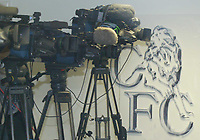 19/10/2004<br />Chelsea press conference and training session - Stamford Bridge.<br />The media spotlight grows as the TV cameras line up for the Chelsea press conference.<br />Photo:Jed Leicester/BPI (back page images)