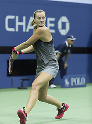 September 5, 2017 - New York, New York, United States - Petra Kvitova of Czech Republic returns ball during match against Venus Williams of USA at US Open Championships at Billie Jean King National Tennis Center  (Credit Image: © Lev Radin/Pacific Press via ZUMA Wire)