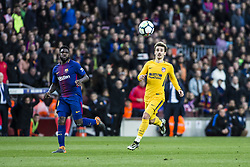 March 4, 2018 - Barcelona, Catalonia, Spain - 07 Griezman from France of Atletico de Madrid and 23 Umiti from Cameroon of FC Barcelona during La Liga match between FC Barcelona v Atletico de Madrid at Camp Nou Stadium in Barcelona on 04 of March, 2018. (Credit Image: © Xavier Bonilla/NurPhoto via ZUMA Press)