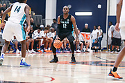 THOUSAND OAKS, CA Sunday, August 12, 2018 - Nike Basketball Academy. De'Vion Harmon 2019 #12 of John H. Guyer HS sets up the offense. <br /> NOTE TO USER: Mandatory Copyright Notice: Photo by John Lopez / Nike