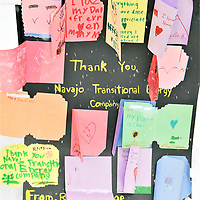 Children of workers from Four Corners Power Plant and Navajo Coal Mine thanked Navajo Transitional Energy Company for employing their parents. The letters were displayed at N.T.E.C.'s table outside the Navajo Nation Council chambers in Window Rock, Arizona, Friday.