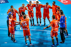 The Dutch handball player Patrick Miedema, Bobby Schagen, Jeffrey Boomhouwer, Dani Baijens, Mark van den Beucken, Samir Benghanem in action during the European Championship qualifying match against Turkey in the Topsport Center Almere.